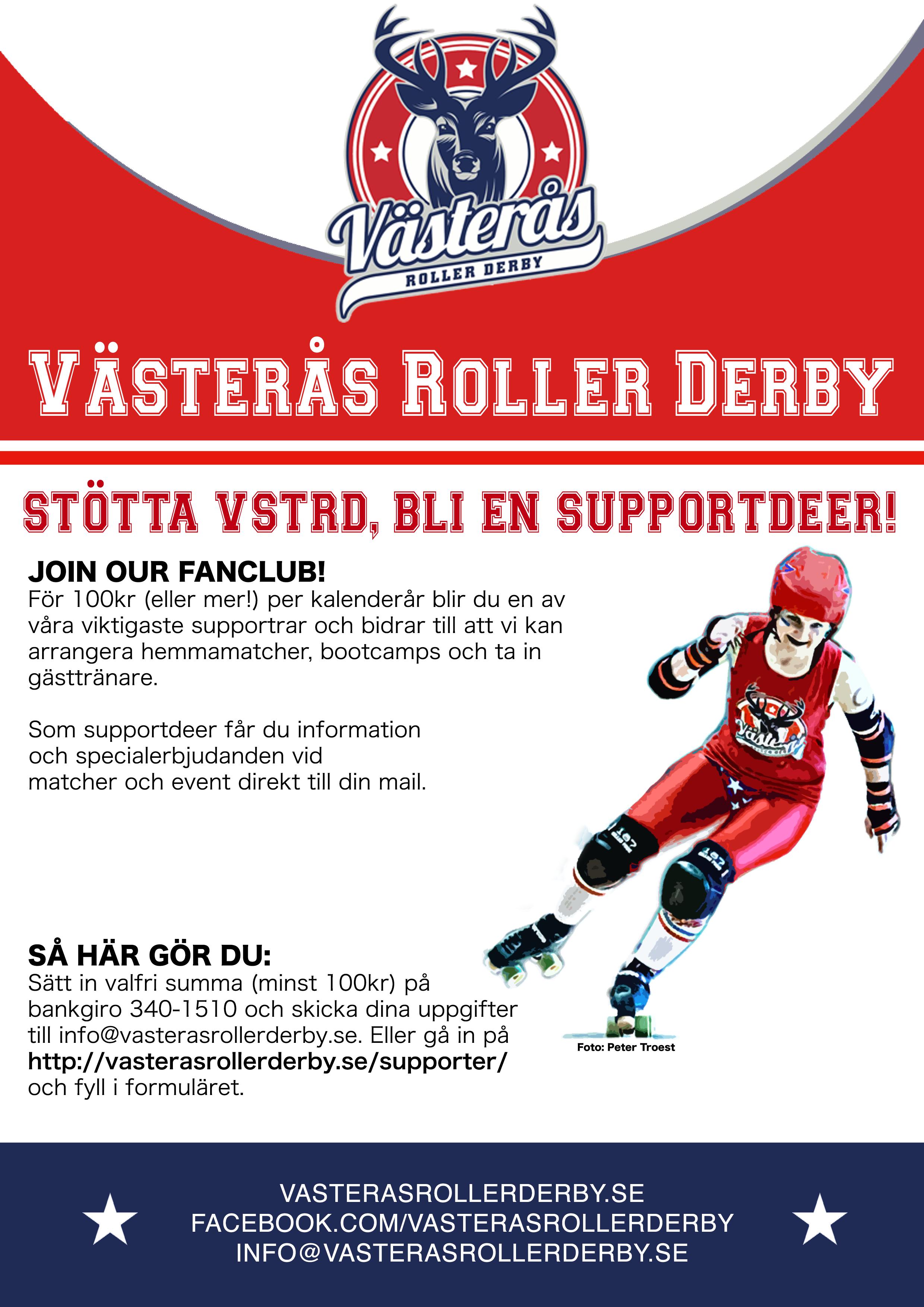 Become a SupportDeer for västerås roller derby!